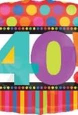 "40! Birthday Square Foil Balloon 18"""