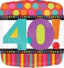 40! Birthday Square Foil Balloon 18""