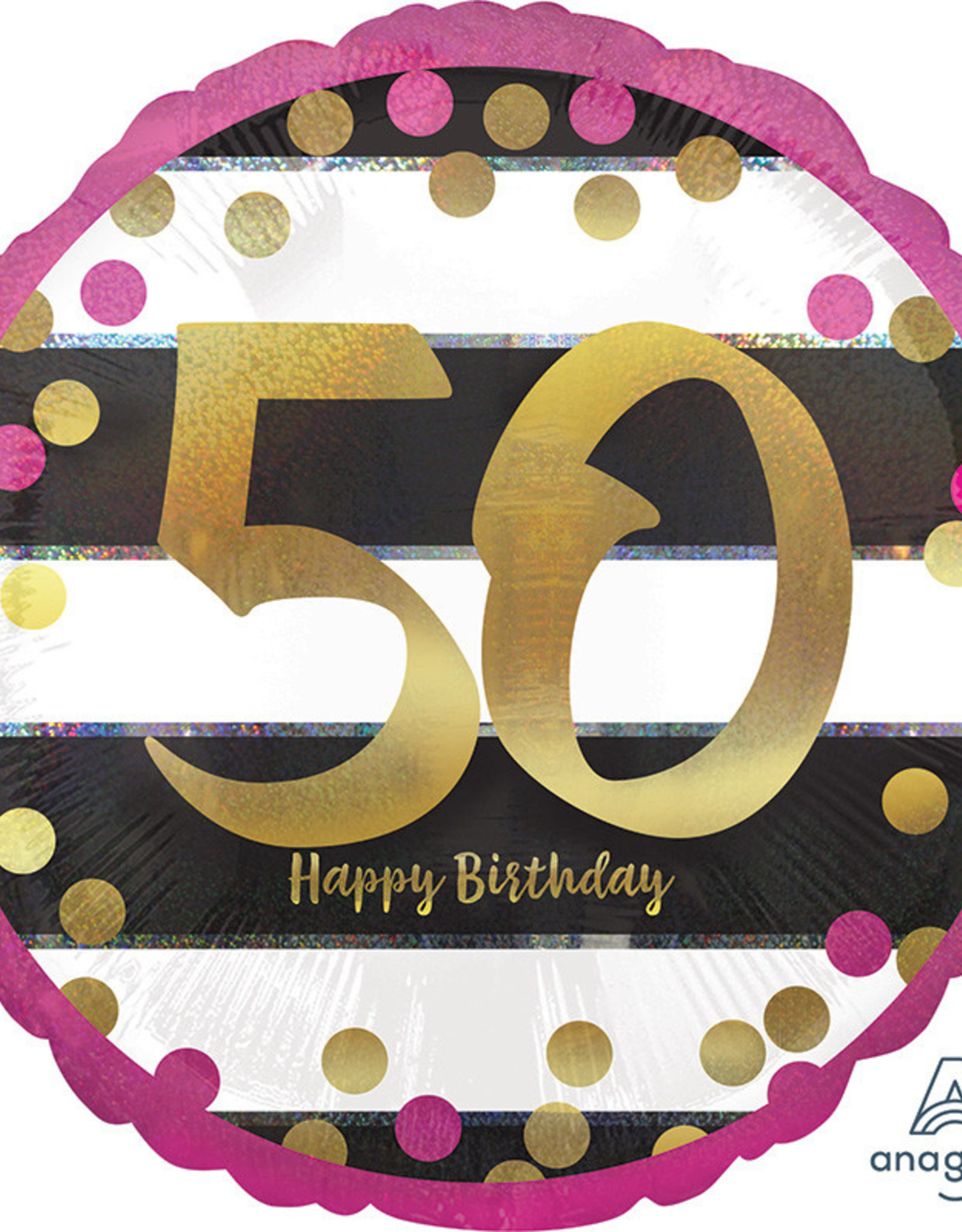 """50th Birthday Pink And Gold Foil  Balloon 18"""""""