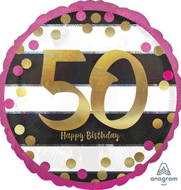 50th Birthday Pink And Gold Foil  Balloon 18""