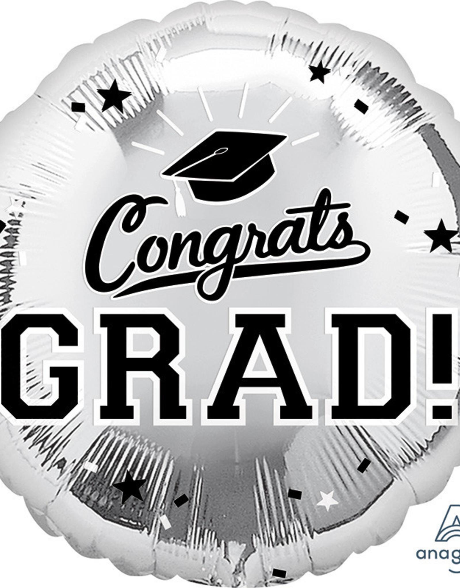 "18"" Silver Congrats Grad Mylar"