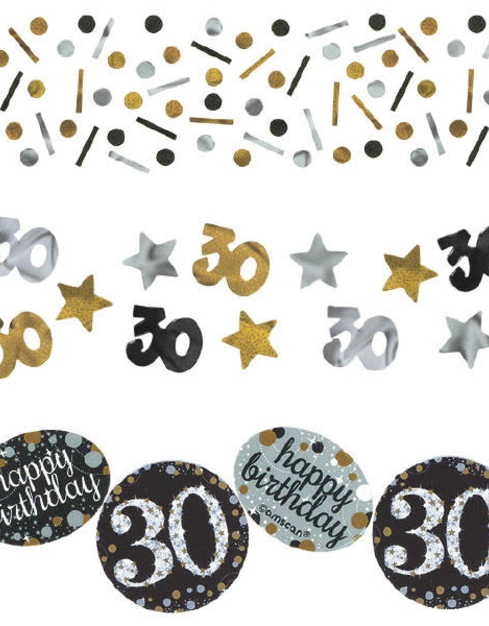 30th Birthday Black and Silver Confetti 1.2oz