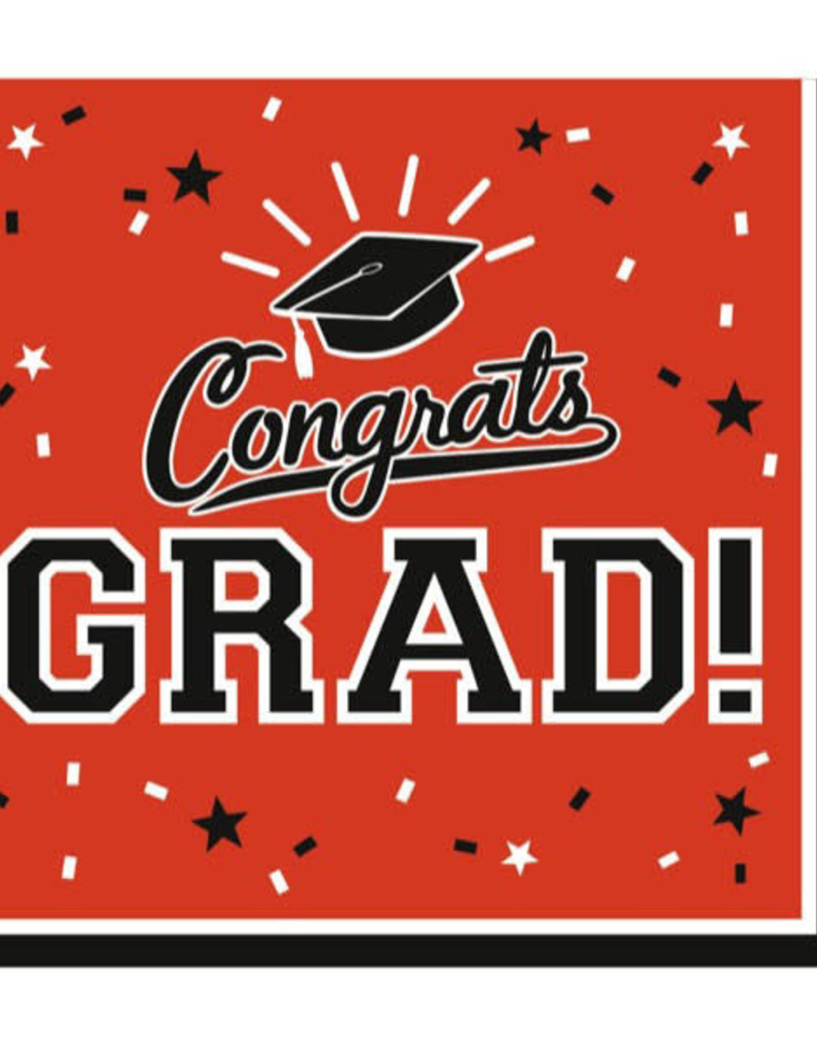 Orange Congrats Grad Beverage Napkins 36pk