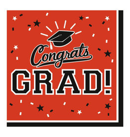 Orange Congrats Grad Beverage Napkins 36pk
