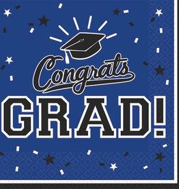 Blue Congrats Grad Beverage Napkins 36pk