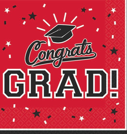 Red Grad Beverage Napkins 36pk