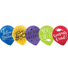 Grad Multicolor Latex Balloon 15pk