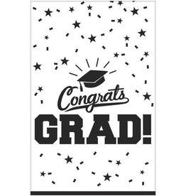 """White """"Congrats Grad !"""" Plastic Rectangular Tablecloth 54"""" x 84"""""""