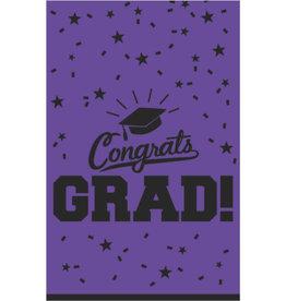 """Purple """"Congrats Grad !"""" Plastic Rectangular Tablecloth 54"""" x 84"""""""