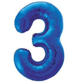 "34"" Blue Number 3 Balloon"