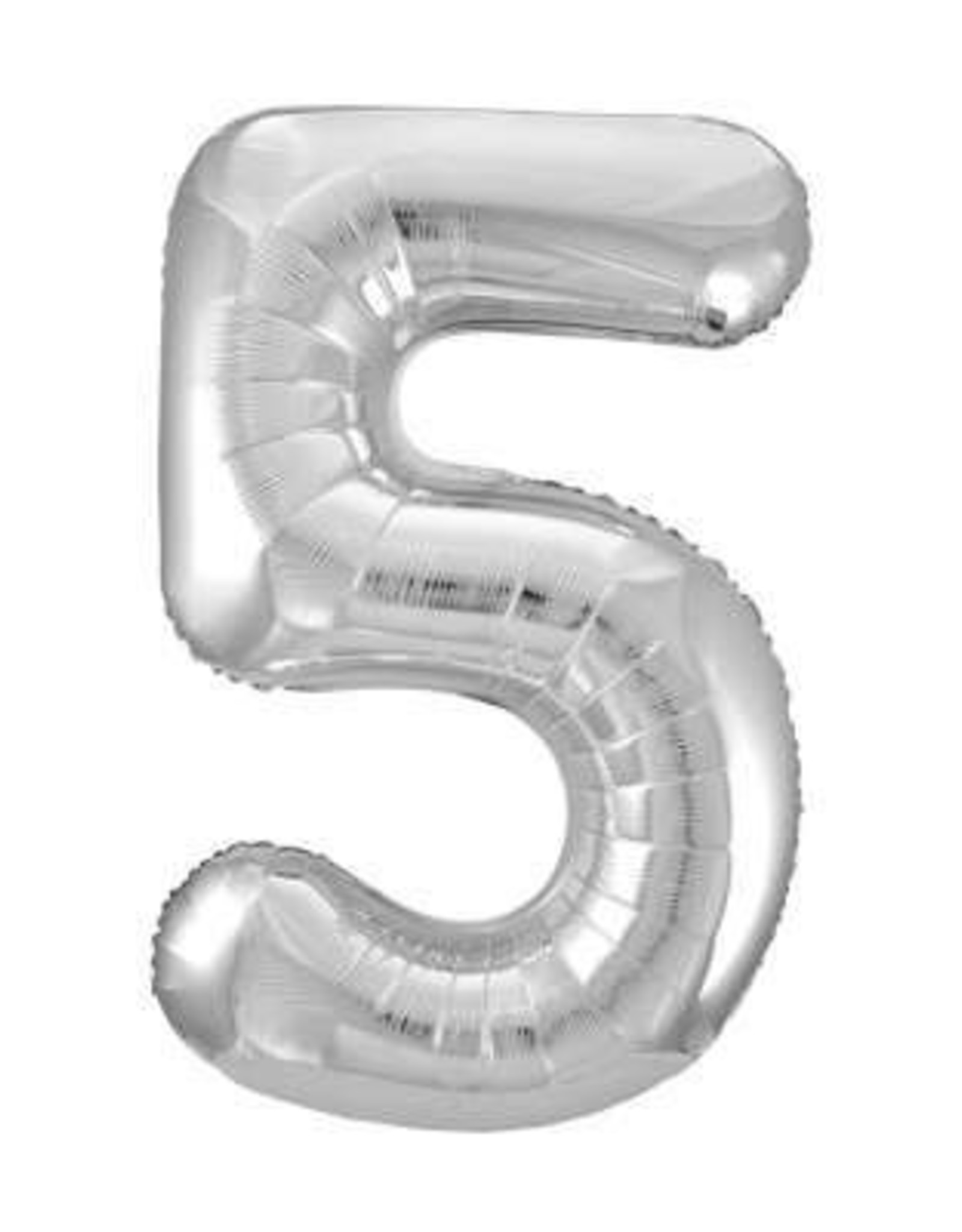 """34"""" Silver Number 5 Balloon"""