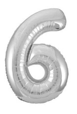 """34"""" Silver Number 6  Balloon"""