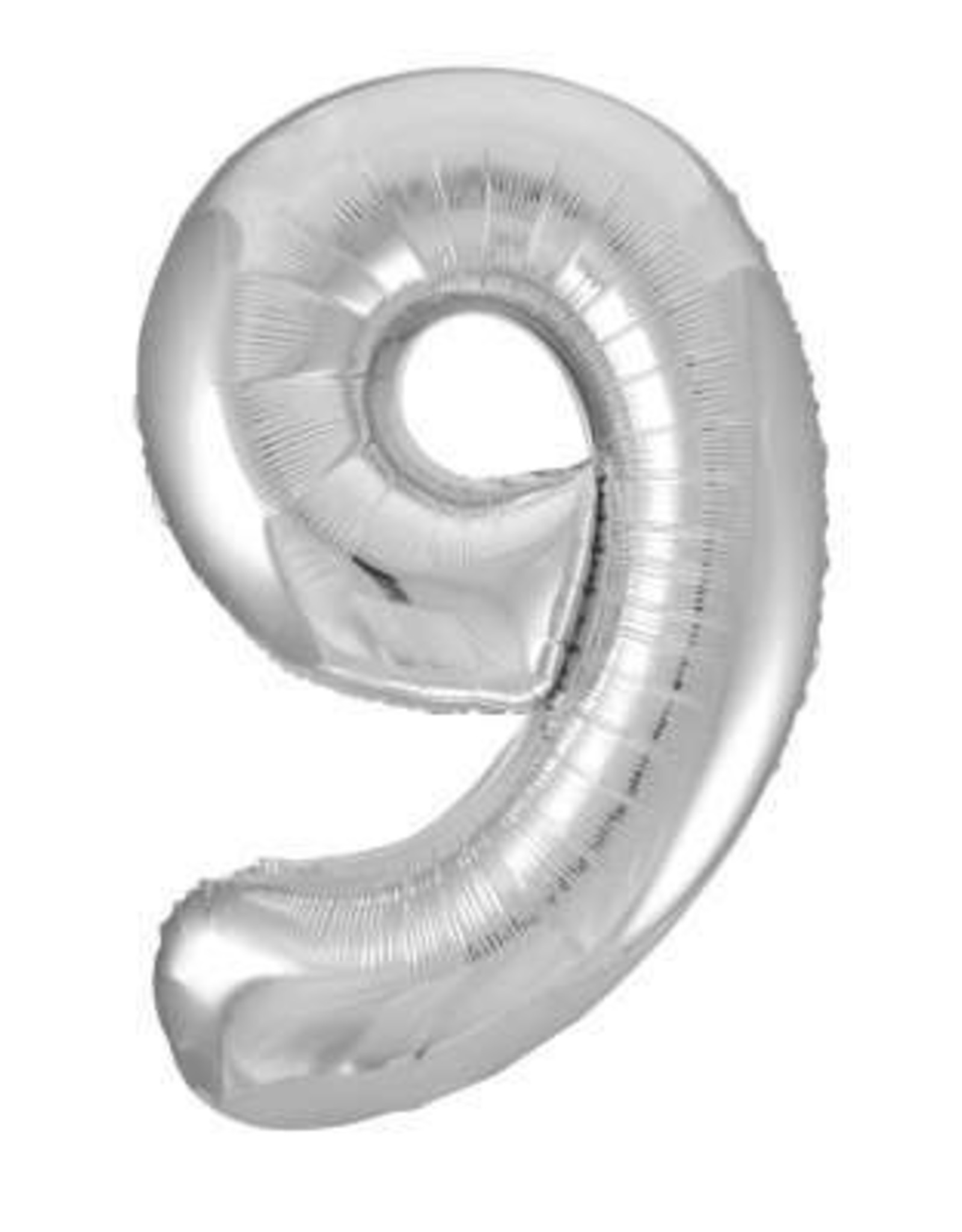 """34"""" Silver Number 9 Balloon"""