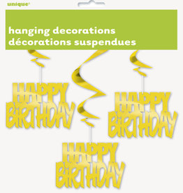 Gold Happy Birthday Swirls 3ct