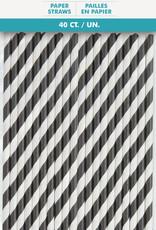 Black Striped Paper Straws 40ct