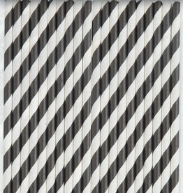 Black Striped Paper Straws 40ct