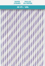 Lavender Striped Paper Straws 40ct