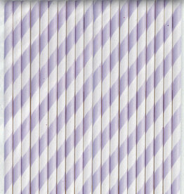 Lavender Striped Paper Straws 40ct
