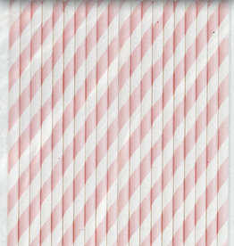 Lovely Pink Striped Paper Straws 40ct