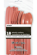 Coral Solid Assorted Plastic Cutlery 18ct