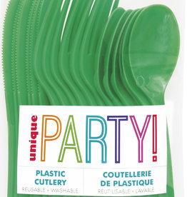 Emerald Green Solid Assorted Plastic Cutlery 18ct