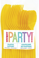 Sunflower Yellow Solid Assorted Plastic Cutlery 18ct