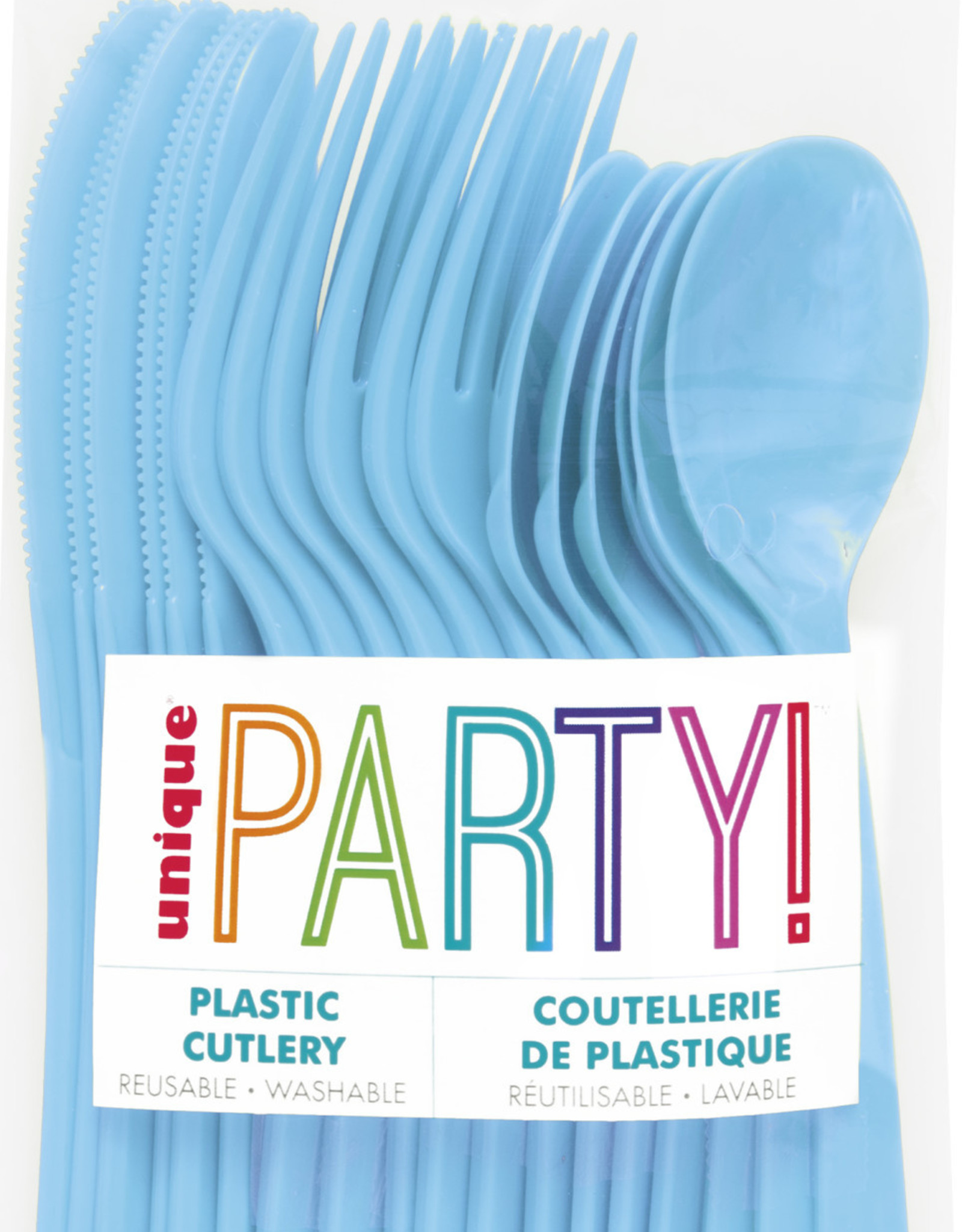 Powder Blue Solid Assorted Plastic Cutlery 18ct