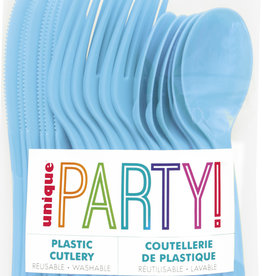 Powder Blue Solid Assorted Plastic Cutlery 18ct