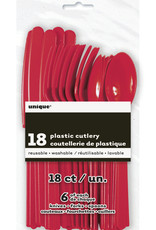Ruby Red Solid Assorted Plastic Cutlery 18ct