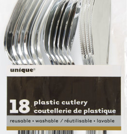 Metallic Silver Solid Assorted Plastic Silverware 18ct