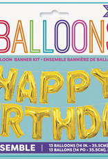 Gold 'Happy Birthday' Air Fill Mylar Banner