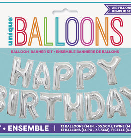 Silver 'Happy Birthday' Air Fill Mylar Banner