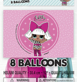 "LOL Surprise 12"" Latex Balloons 8ct"