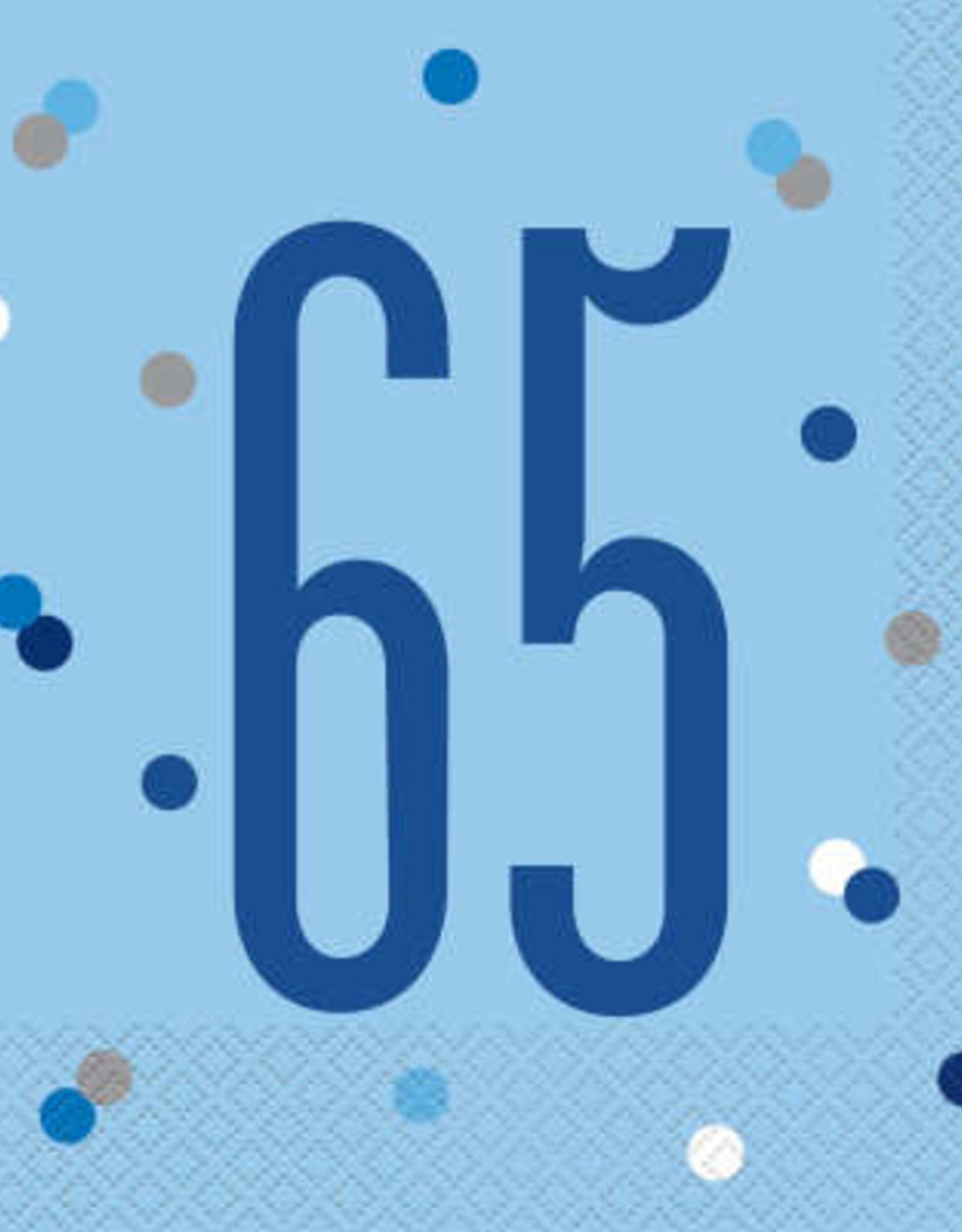Glitz Blue 65th Luncheon Napkins 16ct