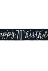 Glitz Black 70th Birthday Banner 9FT