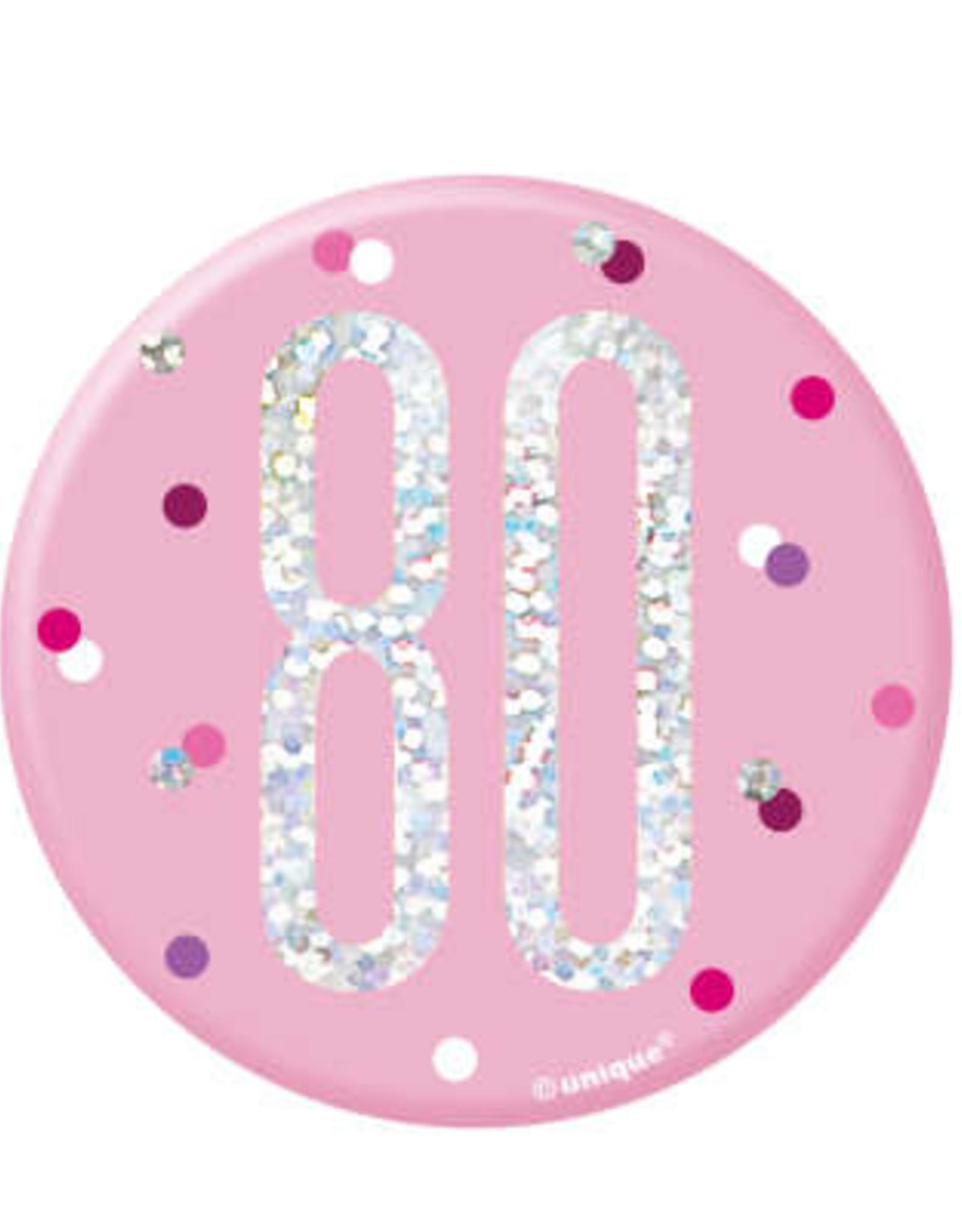 Glitz Pink 80th Pin