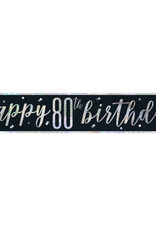 Glitz Black 80th Birthday Banner 9FT