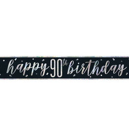 Glitz Black 90th Birthday Banner 9FT