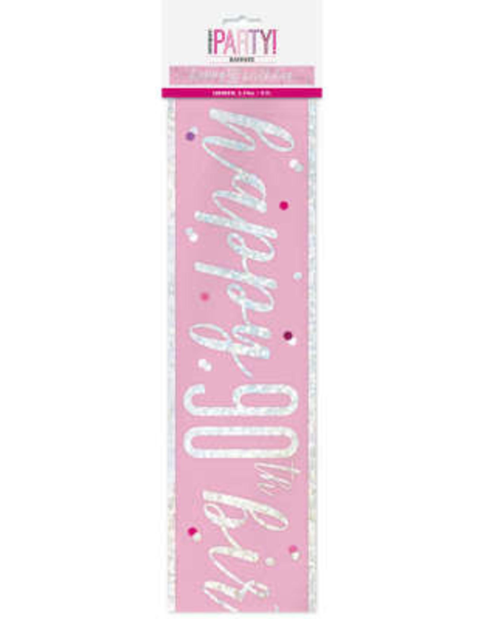Glitz Pink 90th Birthday Banner 9FT