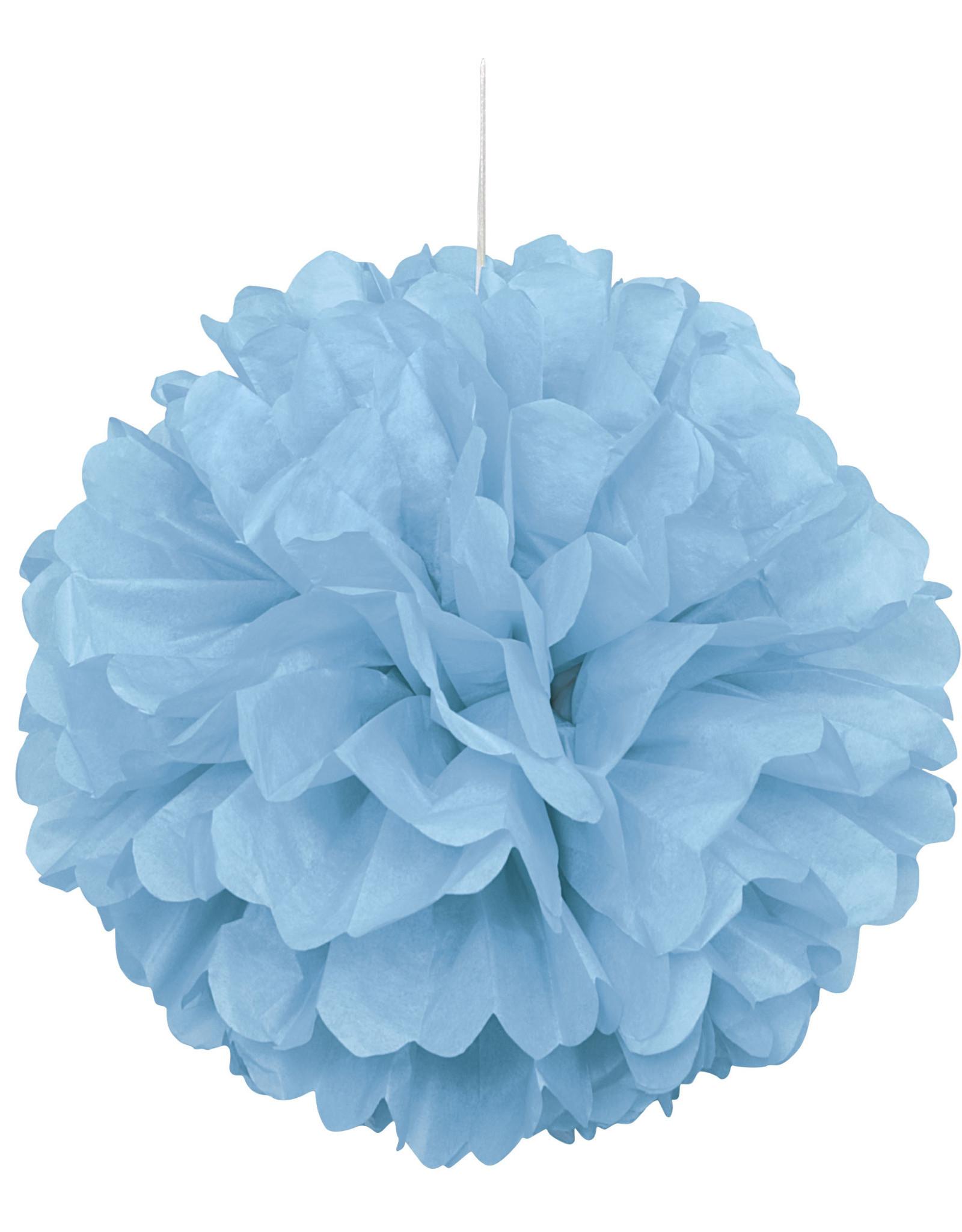 """16"""" Light Blue Paper Puff Ball"""