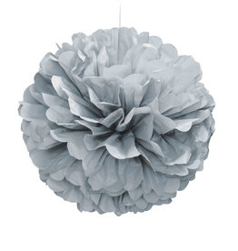 "16"" Silver Paper Puff Ball"