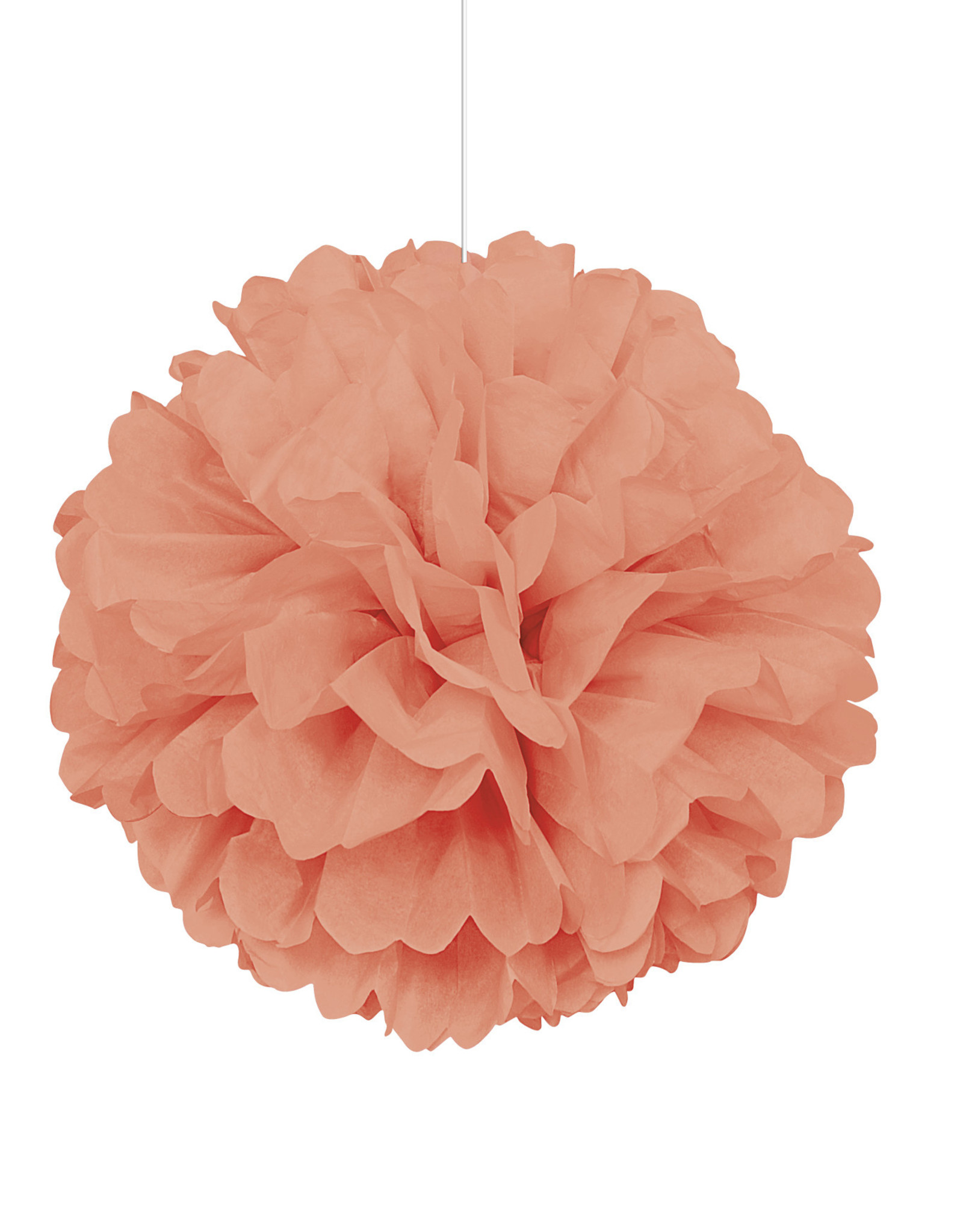 """16"""" Coral Paper Puff Ball"""
