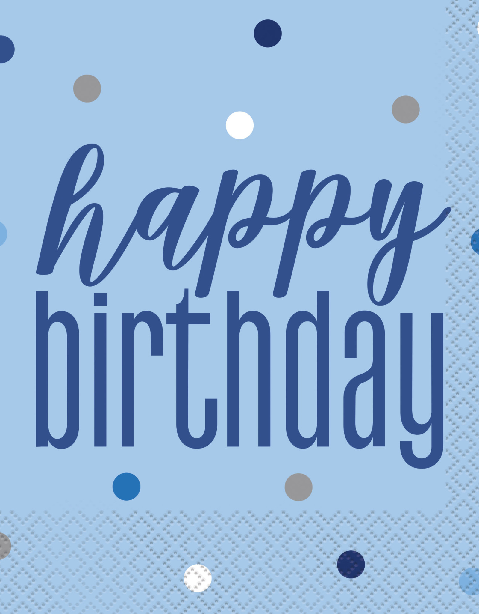 Blue and Silver 'Happy Birthday' Luncheon Napkins