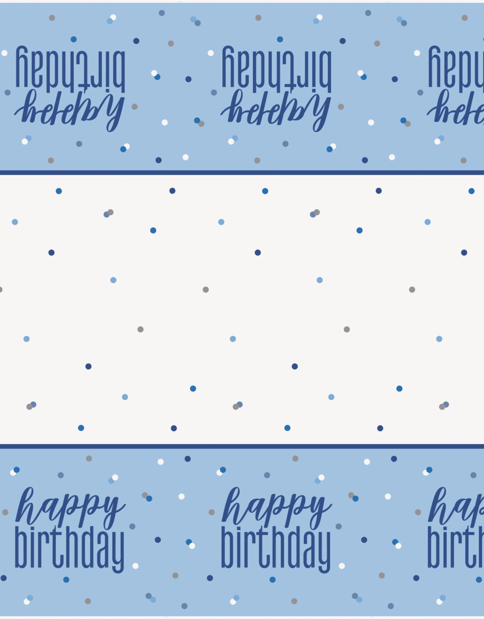 "Blue Happy Birthday Plastic Tablecloth 54"" x 102"""