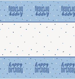 "Blue 'Happy Birthday' Plastic Tablecloth 54"" x 102"""
