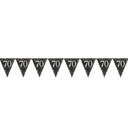 Black and Gold '70' Birthday Prismatic Plastic Flag Banner 13FT