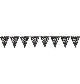 Black and Gold '80th' Birthday Prismatic Plastic Flag Banner 13FT