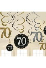 70th Birthday Black and Gold Swirls 12ct