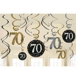 70th Birthday Black and Gold Swirls 12ct