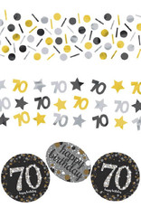 70th Birthday Black and Gold Confetti 1.2oz